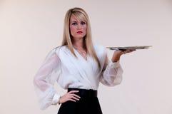κενή σερβιτόρα δίσκων Στοκ εικόνες με δικαίωμα ελεύθερης χρήσης