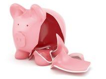 Κενή σπασμένη piggy τράπεζα Στοκ εικόνα με δικαίωμα ελεύθερης χρήσης