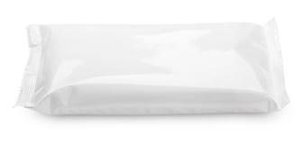 Κενή συσκευασία τροφίμων πλαστικών σακουλών στο λευκό στοκ φωτογραφίες