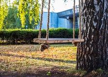 Κενή ταλάντευση με τα φύλλα στην εποχή φθινοπώρου Στοκ εικόνες με δικαίωμα ελεύθερης χρήσης