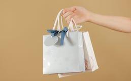 Κενή τσάντα δώρων δύο εγγράφου με τη χλεύη καρδιών επάνω στην εκμετάλλευση υπό εξέταση em στοκ εικόνες