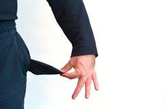Κενή τσέπη ενός ατόμου χωρίς χρήματα στοκ φωτογραφία