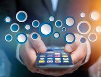 Κενή app διεπαφή φιαγμένη από μπλε κουμπί που επιδεικνύεται σε μια διεπαφή Στοκ φωτογραφία με δικαίωμα ελεύθερης χρήσης