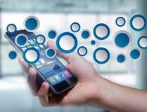 Κενή app διεπαφή φιαγμένη από μπλε κουμπί που επιδεικνύεται σε μια διεπαφή Στοκ Φωτογραφίες