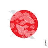 Κεντημένα ψάρια στον κόκκινους κύκλο και την επιγραφή Στοκ φωτογραφίες με δικαίωμα ελεύθερης χρήσης