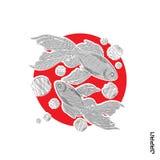 Κεντημένα ψάρια στον κόκκινους κύκλο και την επιγραφή Στοκ φωτογραφία με δικαίωμα ελεύθερης χρήσης