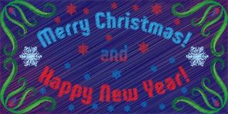 Κεντημένες διάνυσμα Χαρούμενα Χριστούγεννα και καλή χρονιά χαιρετισμών Στοκ Εικόνα