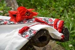 Κεντημένες πουκάμισο σύνθεσης σταυρός και διακόσμηση τρίχας Στοκ Φωτογραφία