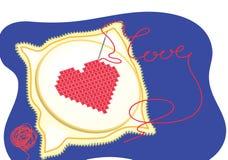 κεντημένη καρδιά Στοκ φωτογραφία με δικαίωμα ελεύθερης χρήσης