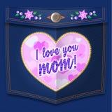 Κεντημένος σ' αγαπώ mom στην καρδιά ελεύθερη απεικόνιση δικαιώματος