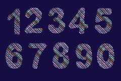 Κεντημένος των πηγών Ζωηρόχρωμοι αριθμοί νήματος απομονωμένος διάνυσμα ελεύθερη απεικόνιση δικαιώματος