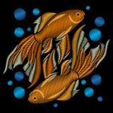 Κεντημένος goldfish Κεντητική με τα χρυσά ψάρια σε μια μαύρη ΤΣΕ ελεύθερη απεικόνιση δικαιώματος
