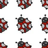 Κεντημένος ladybug σε ένα άσπρο υπόβαθρο - άνευ ραφής σχέδιο Εκτάριο διανυσματική απεικόνιση