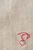 κεντημένο κόκκινο καρδιών Στοκ εικόνες με δικαίωμα ελεύθερης χρήσης