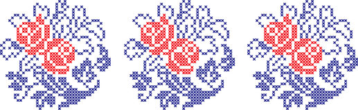Κεντημένο σχέδιο στο διαφανές υπόβαθρο διανυσματική απεικόνιση