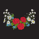 Κεντητική Ανθοδέσμη με τα τριαντάφυλλα και τις μαργαρίτες Στοκ Φωτογραφία
