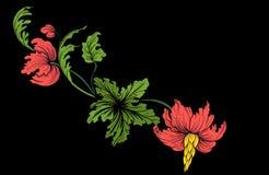 Κεντητική για τη γραμμή περιλαίμιων Floral διακόσμηση στο εκλεκτής ποιότητας ύφος Στοκ Εικόνα