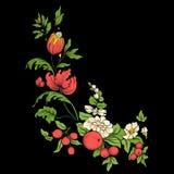 Κεντητική για τη γραμμή περιλαίμιων Floral διακόσμηση στο εκλεκτής ποιότητας ύφος Στοκ Φωτογραφίες