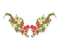 Κεντητική για τη γραμμή περιλαίμιων Floral διακόσμηση στο εκλεκτής ποιότητας ύφος Στοκ Φωτογραφία