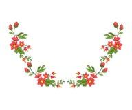 Κεντητική για τη γραμμή περιλαίμιων Floral διακόσμηση στο εκλεκτής ποιότητας ύφος Στοκ Εικόνες
