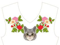 Κεντητική για το neckline, περιλαίμιο για την μπλούζα, μπλούζα, πουκάμισο Patt Στοκ Φωτογραφίες
