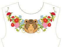 Κεντητική για το neckline, περιλαίμιο για την μπλούζα, μπλούζα, πουκάμισο Patt Στοκ εικόνες με δικαίωμα ελεύθερης χρήσης