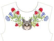 Κεντητική για το neckline, περιλαίμιο για την μπλούζα, μπλούζα, πουκάμισο Patt Στοκ φωτογραφία με δικαίωμα ελεύθερης χρήσης