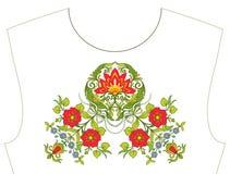Κεντητική για το neckline, περιλαίμιο για την μπλούζα, μπλούζα, πουκάμισο Patt Στοκ Εικόνα