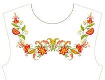 Κεντητική για το neckline, περιλαίμιο για την μπλούζα, μπλούζα, πουκάμισο Patt Στοκ εικόνα με δικαίωμα ελεύθερης χρήσης
