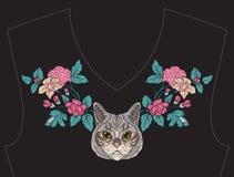 Κεντητική για το neckline, περιλαίμιο για την μπλούζα, μπλούζα, πουκάμισο Στοκ Εικόνα