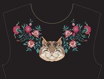 Κεντητική για το neckline, περιλαίμιο για την μπλούζα, μπλούζα, πουκάμισο Στοκ εικόνες με δικαίωμα ελεύθερης χρήσης