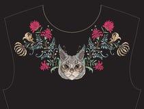 Κεντητική για το neckline, περιλαίμιο για την μπλούζα, μπλούζα, πουκάμισο Στοκ Εικόνες