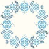 Κεντητική διαγώνιος-βελονιών στο ουκρανικό ύφος Κεντημένος γύρω από το floral πλαίσιο ελεύθερη απεικόνιση δικαιώματος