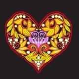 Κεντητική με τη διαμορφωμένη καρδιά αγάπης στο μαύρο υπόβαθρο Στοκ Φωτογραφίες