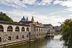 Κεντρικά κτήρια πόλεων του Λουμπλιάνα Στοκ Εικόνα