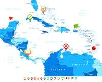 Κεντρική Αμερική - εικονίδια χαρτών και ναυσιπλοΐας - απεικόνιση Στοκ εικόνα με δικαίωμα ελεύθερης χρήσης