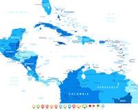 Κεντρική Αμερική - εικονίδια χαρτών και ναυσιπλοΐας - απεικόνιση Στοκ φωτογραφία με δικαίωμα ελεύθερης χρήσης
