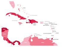 Κεντρική Αμερική και καραϊβικός κρατικός πολιτικός χάρτης σε τέσσερις σκιές καφέ με τις ετικέτες ονομάτων Μαύρης Χώρας Απλό επίπε απεικόνιση αποθεμάτων
