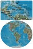 Κεντρική Αμερική Cribbean και ο χάρτης της Αμερικής απεικόνιση αποθεμάτων