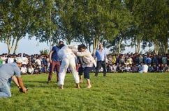 Κεντρική ασιατική τουρκμενική πάλη στη Ιστανμπούλ Στοκ φωτογραφία με δικαίωμα ελεύθερης χρήσης
