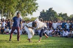 Κεντρική ασιατική τουρκμενική πάλη στη Ιστανμπούλ Στοκ Εικόνες