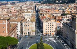 Κεντρική αστική τετραγωνική πλατεία Venezia στην πόλη της Ρώμης Στοκ φωτογραφίες με δικαίωμα ελεύθερης χρήσης