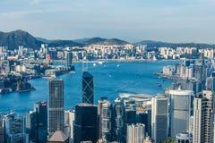 Κεντρική εικονική παράσταση πόλης οριζόντων κόλπων Χονγκ Κονγκ Στοκ Εικόνες