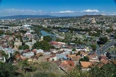Κεντρική εναέρια άποψη πόλεων του Tbilisi από το φρούριο Narikala, Γεωργία Στοκ εικόνες με δικαίωμα ελεύθερης χρήσης