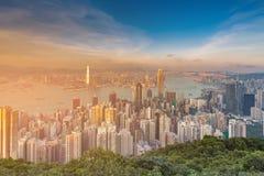 Κεντρική επιχειρησιακή στο κέντρο της πόλης εναέρια άποψη Χονγκ Κονγκ από την αιχμή Στοκ φωτογραφίες με δικαίωμα ελεύθερης χρήσης
