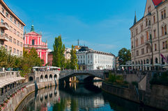 κεντρική πόλη Λουμπλιάνα Στοκ Εικόνες