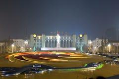 Κεντρική τετραγωνική νύχτα πόλεων της Κίνας Στοκ Εικόνες