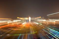 Κεντρική τετραγωνική νύχτα πόλεων της Κίνας Στοκ εικόνα με δικαίωμα ελεύθερης χρήσης