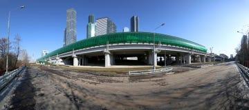 Κεντρικοί κύκλος της Μόσχας και ουρανοξύστες της διεθνούς πόλης εμπορικών κέντρων, Ρωσία Σιδηροδρομικός σταθμός Tsentr Delovoy Στοκ Εικόνες