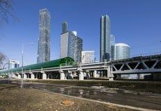 Κεντρικοί κύκλος της Μόσχας και ουρανοξύστες της διεθνούς πόλης εμπορικών κέντρων, Ρωσία Σιδηροδρομικός σταθμός Tsentr Delovoy Στοκ φωτογραφία με δικαίωμα ελεύθερης χρήσης